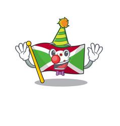 Cute clown flag burundi placed on cartoon vector