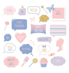 Cute hand drawn speech bubbles and frames with vector