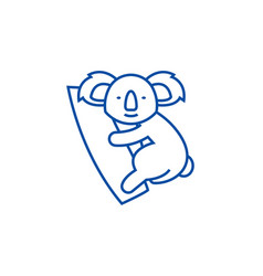 cute koala line icon concept cute koala flat vector image