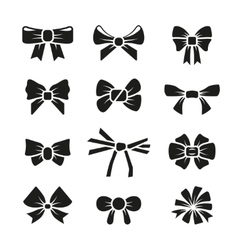 Decorative gift bows black icons set vector
