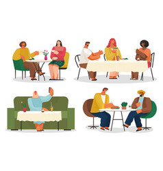 eating out cafe or restaurant friends and couple vector image