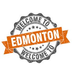 Edmonton round ribbon seal vector