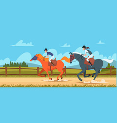 equestrian sport background people rides on race vector image