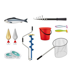 fishing camping recreation items hooks spinner vector image