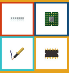 flat icon device set of repair unit memory and vector image