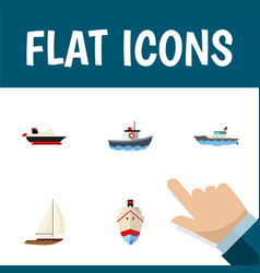 flat icon vessel set of yacht sailboat cargo and vector image