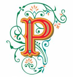 floral letter p vector image vector image