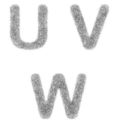 Furry sketch font set - letters U V W vector