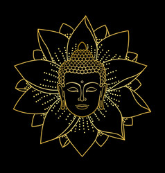 Gold buddha head and lotus vector