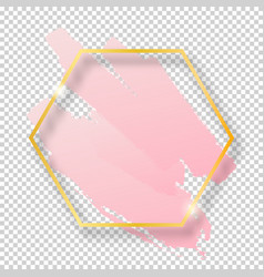 golden shiny vintage hexagon frame with brush vector image