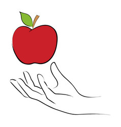 grabbing an apple vector image