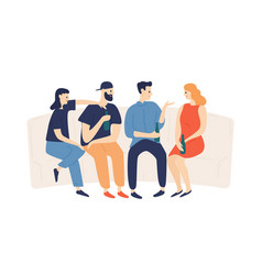 group happy friends drinking beer at party vector image