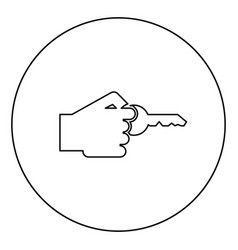 Hand holds key concept opening idea success vector