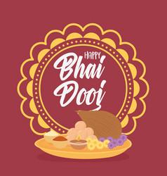 happy bhai dooj mandala food culture and indian vector image