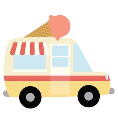 Ice cream truck with ice cream cone vector