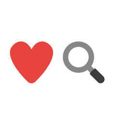 icon concept of heart with magnifying glass vector image