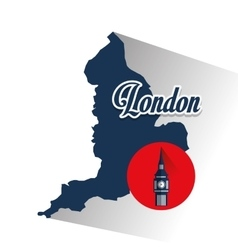 Isolated map and big ben design vector