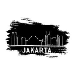 jakarta skyline silhouette hand drawn sketch vector image