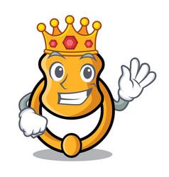 King vintage door knocker on mascot cartoon vector