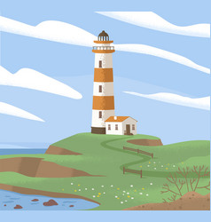 Landscape with lighthouse tower on sea coast vector