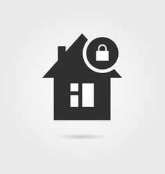 locked home icon with shadow vector image