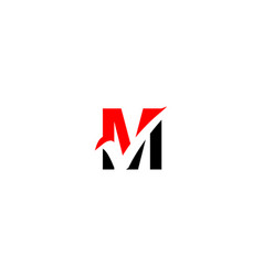 m letter check mark logo vector image
