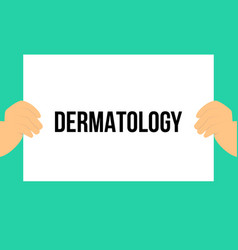 man showing paper dermatology text vector image