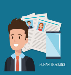 Man with smartphone human resources vector