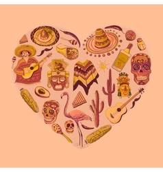 Mexico love - heart with set vector