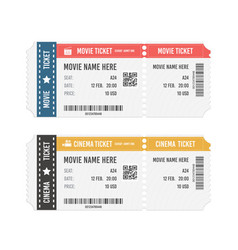 modern cinema or movie tickets isolated on white vector image