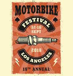 motorbike festival colored vintage poster vector image