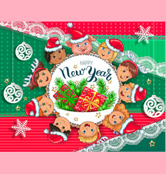new year greeting card with kids vector image