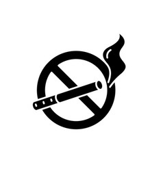 No smoking black icon sign on isolated vector