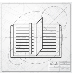 Notebook icon Epsclassic blueprint of0 vector