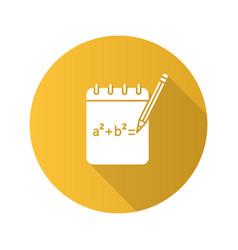Notebook with math formula flat design long vector