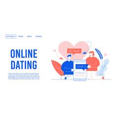 Online dating service mobile app landing page vector