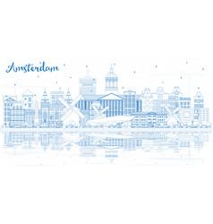 Outline amsterdam holland city skyline with blue vector