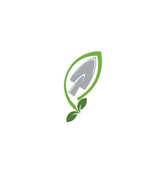 plant tool with leaves for logo design vector image