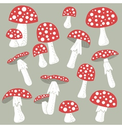 Poisonus mushrooms isolated vector