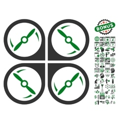 Quadcopter Screws Rotation Icon With Bonus vector