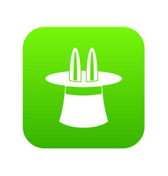 Rabbit ears appearing from a top magic hat icon vector