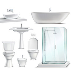 Realistic bathroom furniture set vector