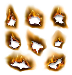 realistic burning fire flames burnt paper holes vector image