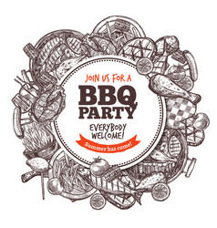 round poster with collection bbq grilled food vector image