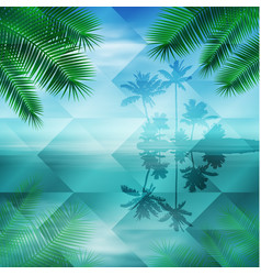 sea with island geometric background vector image
