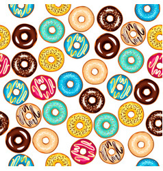 seamless different pattern with glazed donuts vector image