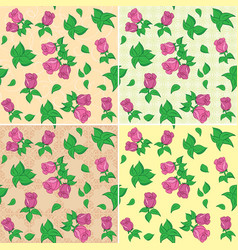seamless patterns with red roses and leaves vector image