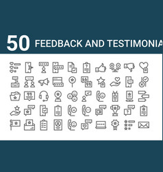 Set 50 feedback and testimonials icons outline vector