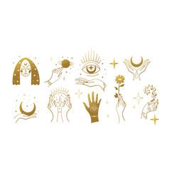 Set golden magic stickers boho design elements vector