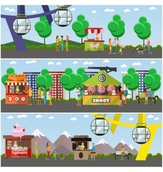 Set of amusement park concept posters vector